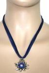 German Wear, Trachtenkette Edelweiß Satin Chiffon Straßsteine Metall Tracht Kette 3, 5cm dunkelblau