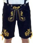 German Wear, Miesbacher kurze Trachten Lederhose mit Hosenträger Trachtenhose Gold