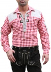 German Wear, Trachtenhemd für Trachten Lederhosen mit Verzierung rot/kariert