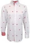 German Wear, Trachtenhemd Slim Fit für Lederhosen mit roter Stickerei weiß