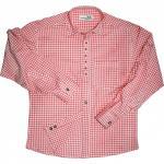 Trachtenhemd mit Edelweiß-Stickerei Rot/karo 100% Baumwolle