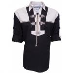 Trachtenhemd für Lederhosen mit Verzierung Schwarz