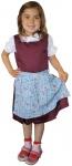 3-tlg Kinder Dirndl Mädchendirndl Dirndlbluse Dirndlschürze Kleid Bordeaux/Blau
