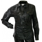 Damen Lederhemd Lammnappa Motorradhemd Chopper echtleder Hemd schwarz