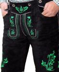 Miesbacher Kurze Trachten Lederhose mit Hosenträger meergrün Trachtenhose