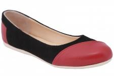Ballerinas Lederschuhe aus Wildleder & Glattleder in schwarz/bordeaux rot