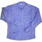 Trachtenhemd mit Edelweiß-Stickerei Blau/karo 100% Baumwolle