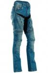 BULLDT Damen Kevlar Motorradjeans Motorradhose Denim Jeans Hose mit Protektoren blau