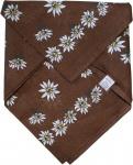 German Wear, Halstuch Trachtentuch BAUMWOLLE mit Edelweissmuster nikituch 50x50cm dunkelbraun