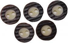 5x Trachtenknöpfe Trachten Trachtenhemd-Knopf Hirschhorn Imitat 13mm, Braun