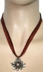 German Wear, Trachtenkette Edelweiß Satin Chiffon Straßsteine Metall Tracht Kette 3, 5cm braun