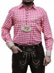Trachtenhemd mit Bayerischem Wappen bestickt für Trachten Lederhosen rot/kariert