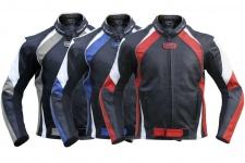 German Wear, Lederjacke Motorradjacke Rindsleder Kombijacke Rot, Blau, Grau 3x Farbkombinationen