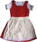3-tlg Kinder Dirndl Mädchendirndl dirndlbluse dirndlschürze kleid Rot