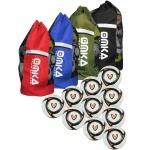 OMKA 10x Bälle Deft inkl. Fußballsack Reisetasche mit Schultergurt