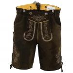 German Wear, Kurze Trachten Lederhose mit Hosenträger Trachtenhose Braun