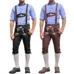GermanWear Trachten Kniebundhose Oktoberfest Jeans Hose mit Hosenträgern