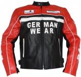 German Wear, Motorrad Lederjacke Motorradjacke Rindsleder Jacke Schwarz/Rot
