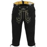 German Wear, Trachten Lederhose Kniebundhose trachtenhose mit Hosenträger schwarz