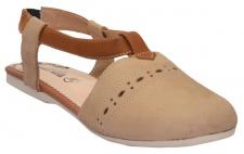 Geschlossene Sandale aus echtem Leder Trendschuhe Beige/Kastanienbraun