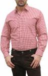 Trachtenhemd für Trachten Lederhosen wiesn aus Baumwolle rot/kariert