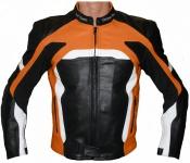 Lederjacke Motorradjacke Kombijacke in der Farbe Schwarz/Orange