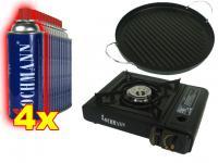 Gaskocher + Koffer + Grillplatte R + 4 Gaskartuschen