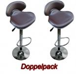2 x Design Barhocker Bar Hocker Stuhl Barstuhl Tresen M7 braun mit Lehne NEU