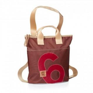 360° Taschen 360° Rucksacktasche Mini - braunes Tuch / Zahl rot - Lagerabverkauf