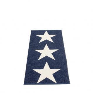 pappelina Viggo Star Outdoor-Teppich - blau metallic / vanille