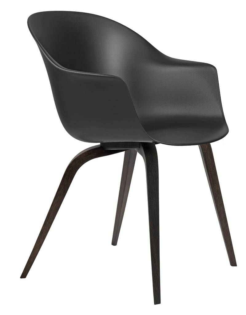 Gubi Bat Dining Chair Stuhl, Holzbeine Eiche dunkel lackiert