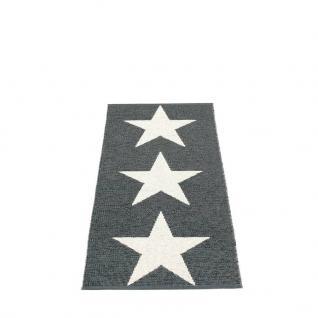 pappelina Viggo Star Outdoor-Teppich - schwarz metallic / vanille