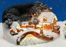WINTERDORF HÄUSER mit BACH mit Beleuchtung und LED