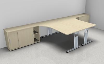 Doppelarbeitsplatz GD35 Schreibtische mit Anstellschränken - Vorschau 2