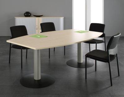 Konferenztisch Mega 200 cm Fassform mit Tellerfüßen vh-bueromoebel Meetingtisch