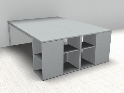 Doppelarbeitsplatz GD22 Schreibtische mit Anstellregal - Vorschau 3