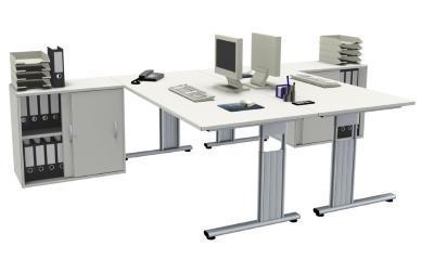 Doppelarbeitsplatz GD18 Schreibtische mit Anstellschränken vh-bueromoebel