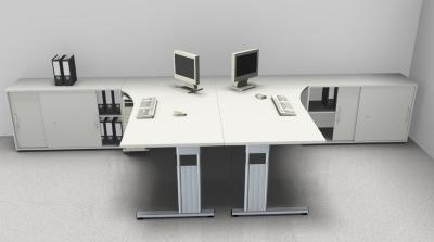 Doppelarbeitsplatz GD35 Schreibtische mit Anstellschränken
