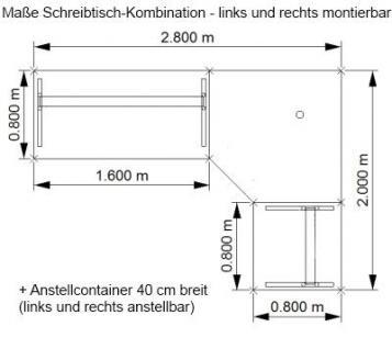 Schreibtischkombination O226 Winkelschreibtisch vh-bueromoebel - Vorschau 2