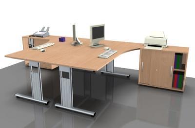 Doppelarbeitsplatz GD25 Schreibtische mit Anstell-Schrank