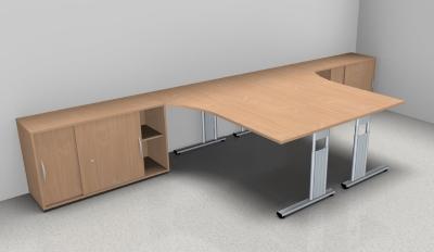 Doppelarbeitsplatz GD35 Schreibtische mit Anstellschränken - Vorschau 3