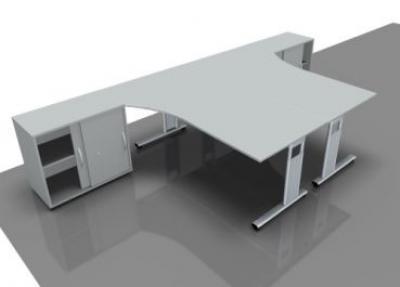 Doppelarbeitsplatz GD25 Schreibtische mit Anstell-Schrank - Vorschau 3