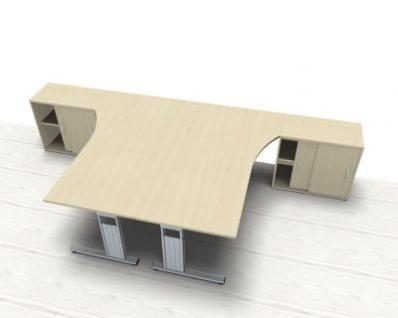 Doppelarbeitsplatz GD25 Schreibtische mit Anstell-Schrank - Vorschau 2