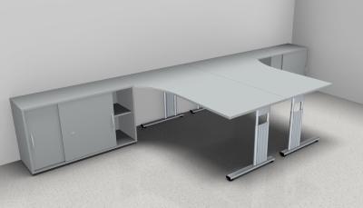 Doppelarbeitsplatz GD35 Schreibtische mit Anstellschränken - Vorschau 4
