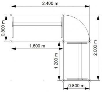 Schreibtischkombination O216 Winkelschreibtisch mit Rollcontainer - Vorschau 2