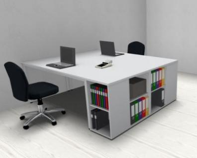 Doppelarbeitsplatz SVA162 Schreibtische mit Anstellregalen