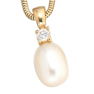 Anhänger 333 Gold Gelbgold 1 Süßwasser Perle 1 Zirkonia Perlenanhänger