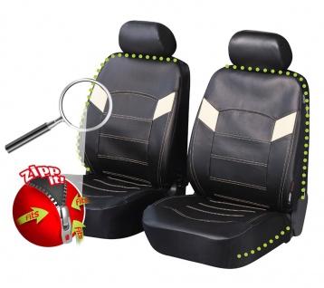2 Stück Universal ZIPP IT Auto Sitzbezüge aus Kunstleder schwarz für Vordersi...
