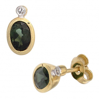 Ohrstecker oval 585 Gold Gelbgold 2 Turmaline grün 2 Diamanten Ohrringe