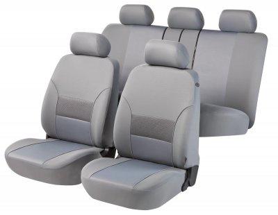 Komplett Set Universal Polyester Jersey Auto Sitzbezüge grau 8-teilig, 30 Grad waschbar, Rücksitzbankbezug 5-teilig